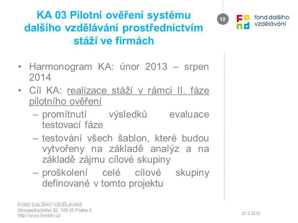 KA 03 Pilotní ověření systému dalšího vzdělávání prostřednictvím stáží ve firmách Harmonogram KA: únor 2013 – srpen 2014 Cíl KA: realizace stáží v rámci II.