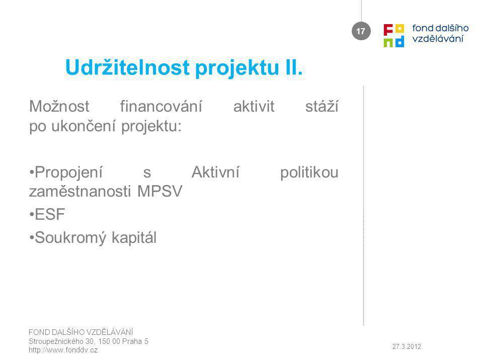 Udržitelnost projektu II.