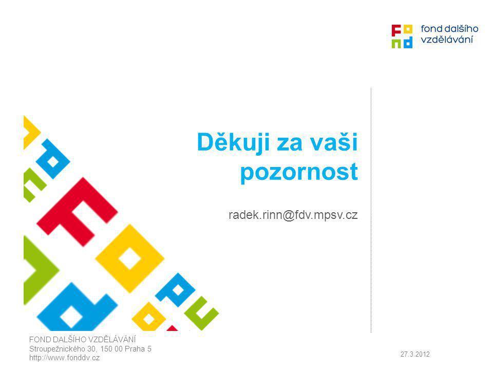Děkuji za vaši pozornost radek.rinn@fdv.mpsv.cz FOND DALŠÍHO VZDĚLÁVÁNÍ Stroupežnického 30, 150 00 Praha 5 http://www.fonddv.cz 27.3.2012