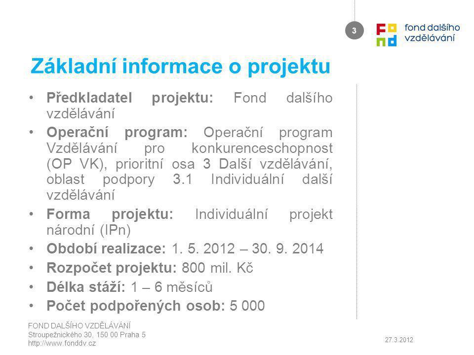 Základní informace o projektu Předkladatel projektu: Fond dalšího vzdělávání Operační program: Operační program Vzdělávání pro konkurenceschopnost (OP VK), prioritní osa 3 Další vzdělávání, oblast podpory 3.1 Individuální další vzdělávání Forma projektu: Individuální projekt národní (IPn) Období realizace: 1.