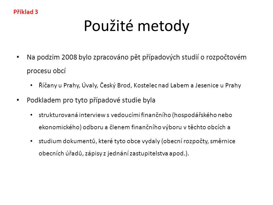 Použité metody Na podzim 2008 bylo zpracováno pět případových studií o rozpočtovém procesu obcí Říčany u Prahy, Úvaly, Český Brod, Kostelec nad Labem