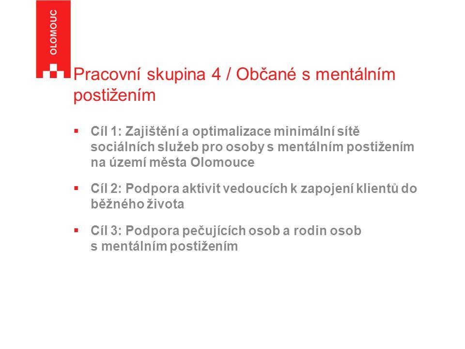 Pracovní skupina 4 / Občané s mentálním postižením  Cíl 1: Zajištění a optimalizace minimální sítě sociálních služeb pro osoby s mentálním postižením na území města Olomouce  Cíl 2: Podpora aktivit vedoucích k zapojení klientů do běžného života  Cíl 3: Podpora pečujících osob a rodin osob s mentálním postižením