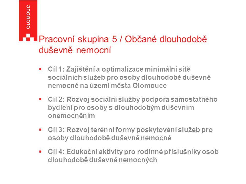 Pracovní skupina 5 / Občané dlouhodobě duševně nemocní  Cíl 1: Zajištění a optimalizace minimální sítě sociálních služeb pro osoby dlouhodobě duševně nemocné na území města Olomouce  Cíl 2: Rozvoj sociální služby podpora samostatného bydlení pro osoby s dlouhodobým duševním onemocněním  Cíl 3: Rozvoj terénní formy poskytování služeb pro osoby dlouhodobě duševně nemocné  Cíl 4: Edukační aktivity pro rodinné příslušníky osob dlouhodobě duševně nemocných