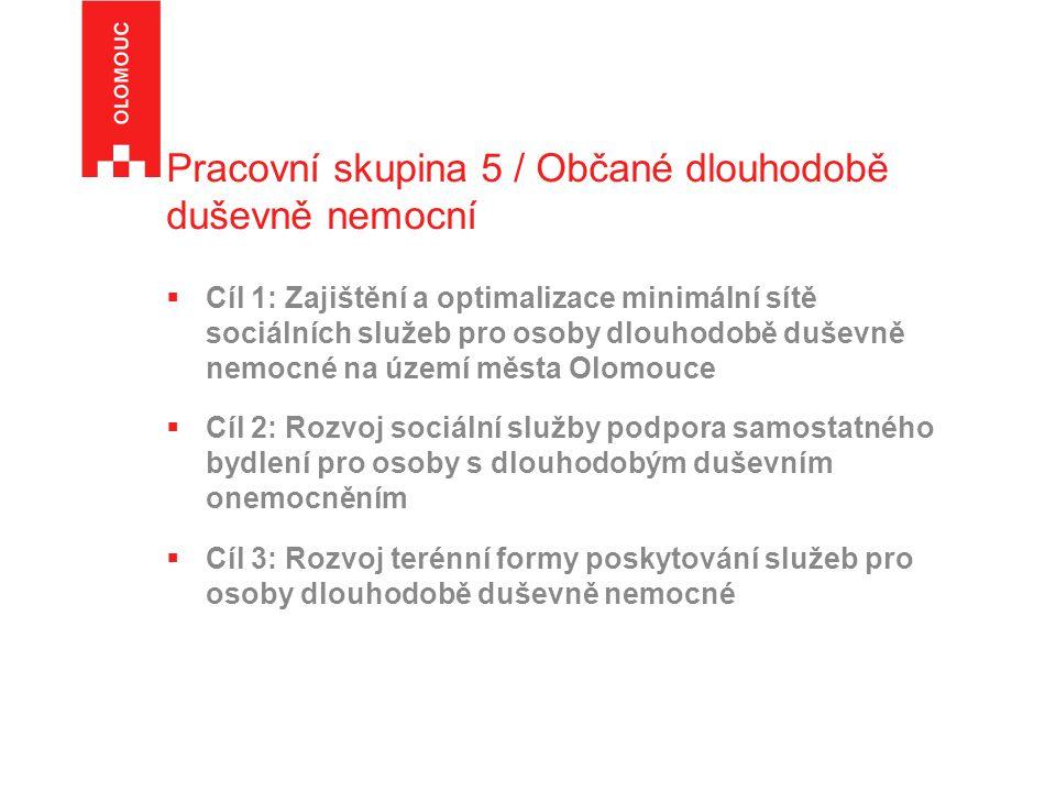 Pracovní skupina 5 / Občané dlouhodobě duševně nemocní  Cíl 1: Zajištění a optimalizace minimální sítě sociálních služeb pro osoby dlouhodobě duševně nemocné na území města Olomouce  Cíl 2: Rozvoj sociální služby podpora samostatného bydlení pro osoby s dlouhodobým duševním onemocněním  Cíl 3: Rozvoj terénní formy poskytování služeb pro osoby dlouhodobě duševně nemocné