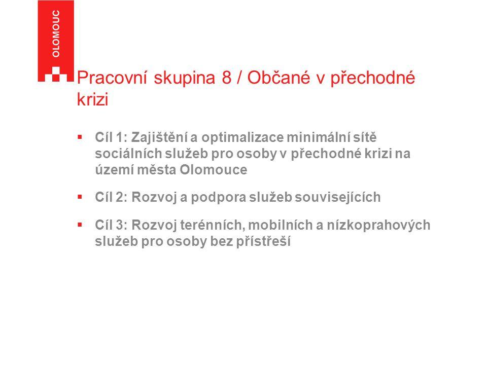 Pracovní skupina 8 / Občané v přechodné krizi  Cíl 1: Zajištění a optimalizace minimální sítě sociálních služeb pro osoby v přechodné krizi na území města Olomouce  Cíl 2: Rozvoj a podpora služeb souvisejících  Cíl 3: Rozvoj terénních, mobilních a nízkoprahových služeb pro osoby bez přístřeší