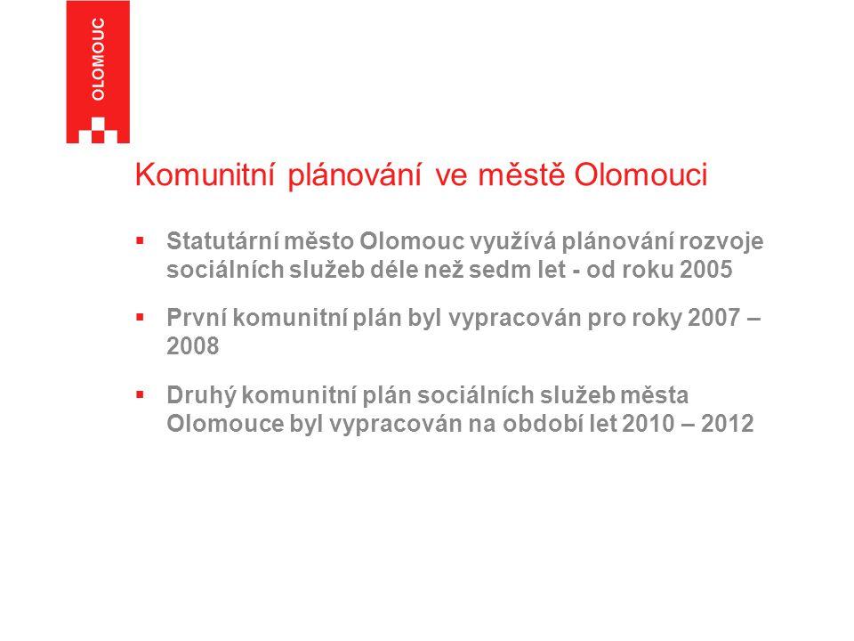 Komunitní plánování ve městě Olomouci  Statutární město Olomouc využívá plánování rozvoje sociálních služeb déle než sedm let - od roku 2005  První komunitní plán byl vypracován pro roky 2007 – 2008  Druhý komunitní plán sociálních služeb města Olomouce byl vypracován na období let 2010 – 2012
