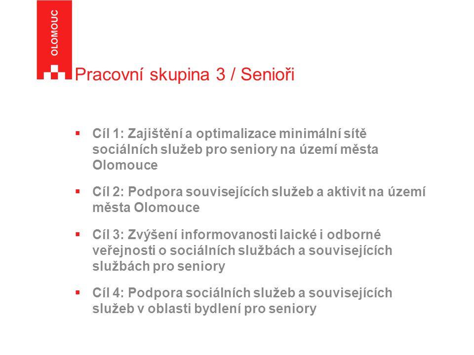 Pracovní skupina 3 / Senioři  Cíl 1: Zajištění a optimalizace minimální sítě sociálních služeb pro seniory na území města Olomouce  Cíl 2: Podpora souvisejících služeb a aktivit na území města Olomouce  Cíl 3: Zvýšení informovanosti laické i odborné veřejnosti o sociálních službách a souvisejících službách pro seniory  Cíl 4: Podpora sociálních služeb a souvisejících služeb v oblasti bydlení pro seniory
