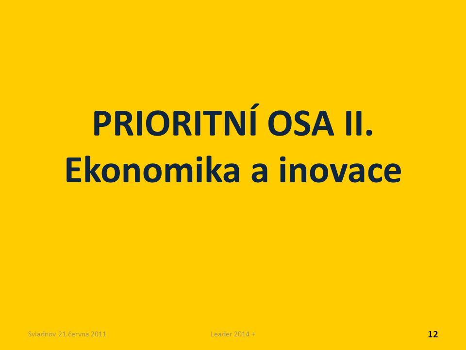 Sviadnov 21.června 2011Leader 2014 + PRIORITNÍ OSA II. Ekonomika a inovace 12