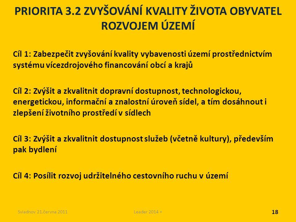 Sviadnov 21.června 2011Leader 2014 + PRIORITA 3.2 ZVYŠOVÁNÍ KVALITY ŽIVOTA OBYVATEL ROZVOJEM ÚZEMÍ Cíl 1: Zabezpečit zvyšování kvality vybavenosti území prostřednictvím systému vícezdrojového financování obcí a krajů Cíl 2: Zvýšit a zkvalitnit dopravní dostupnost, technologickou, energetickou, informační a znalostní úroveň sídel, a tím dosáhnout i zlepšení životního prostředí v sídlech Cíl 3: Zvýšit a zkvalitnit dostupnost služeb (včetně kultury), především pak bydlení Cíl 4: Posílit rozvoj udržitelného cestovního ruchu v území 18