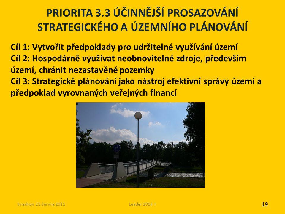 Sviadnov 21.června 2011Leader 2014 + PRIORITA 3.3 ÚČINNĚJŠÍ PROSAZOVÁNÍ STRATEGICKÉHO A ÚZEMNÍHO PLÁNOVÁNÍ Cíl 1: Vytvořit předpoklady pro udržitelné využívání území Cíl 2: Hospodárně využívat neobnovitelné zdroje, především území, chránit nezastavěné pozemky Cíl 3: Strategické plánování jako nástroj efektivní správy území a předpoklad vyrovnaných veřejných financí 19