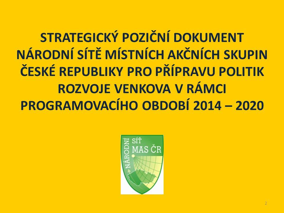STRATEGICKÝ POZIČNÍ DOKUMENT NÁRODNÍ SÍTĚ MÍSTNÍCH AKČNÍCH SKUPIN ČESKÉ REPUBLIKY PRO PŘÍPRAVU POLITIK ROZVOJE VENKOVA V RÁMCI PROGRAMOVACÍHO OBDOBÍ 2014 – 2020 2