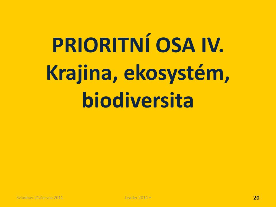 Sviadnov 21.června 2011Leader 2014 + PRIORITNÍ OSA IV. Krajina, ekosystém, biodiversita 20