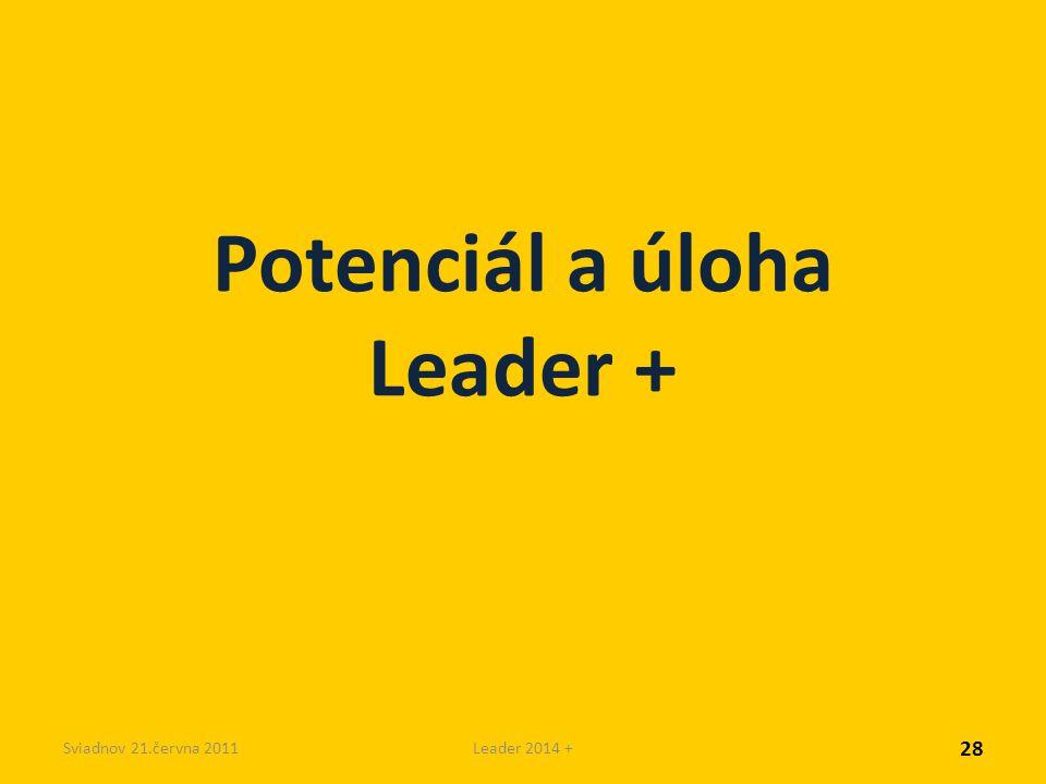 Sviadnov 21.června 2011Leader 2014 + Potenciál a úloha Leader + 28