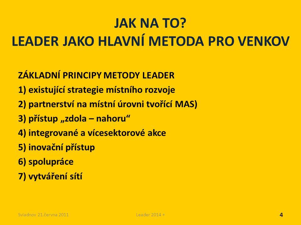 Sviadnov 21.června 2011Leader 2014 + JAK NA TO? LEADER JAKO HLAVNÍ METODA PRO VENKOV ZÁKLADNÍ PRINCIPY METODY LEADER 1) existující strategie místního
