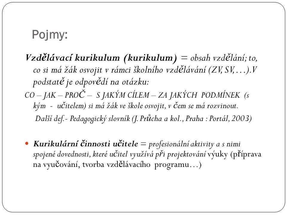 Pojmy: Vzd ě lávací kurikulum (kurikulum) = obsah vzd ě lání; to, co si má žák osvojit v rámci školního vzd ě lávání (ZV, SV,…).