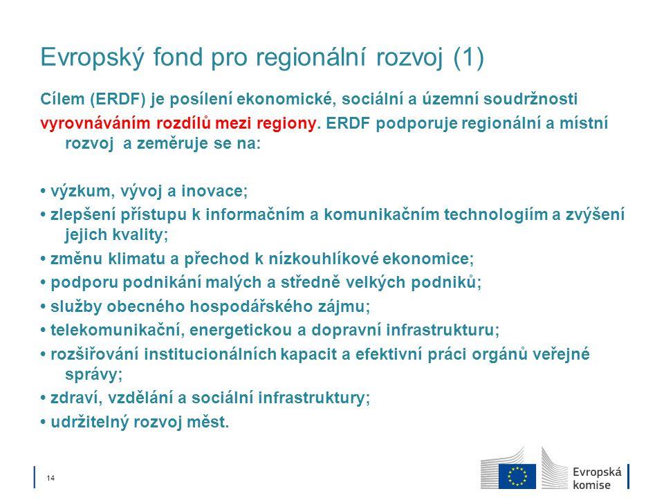│ 14 Evropský fond pro regionální rozvoj (1) Cílem (ERDF) je posílení ekonomické, sociální a územní soudržnosti vyrovnáváním rozdílů mezi regiony. ERD