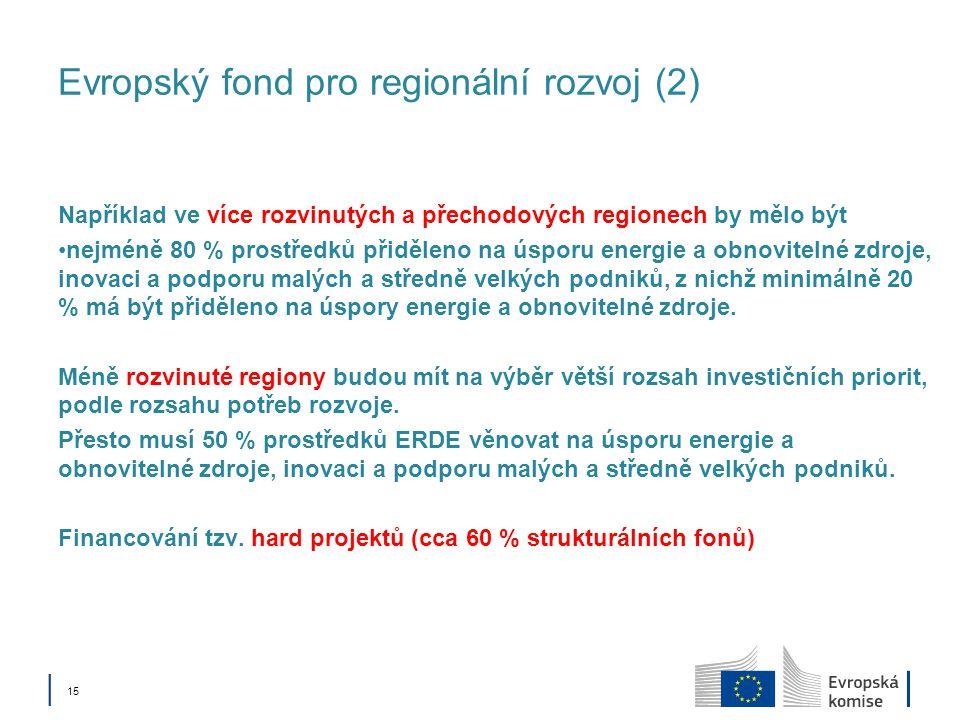 │ 15 Evropský fond pro regionální rozvoj (2) Například ve více rozvinutých a přechodových regionech by mělo být nejméně 80 % prostředků přiděleno na úsporu energie a obnovitelné zdroje, inovaci a podporu malých a středně velkých podniků, z nichž minimálně 20 % má být přiděleno na úspory energie a obnovitelné zdroje.