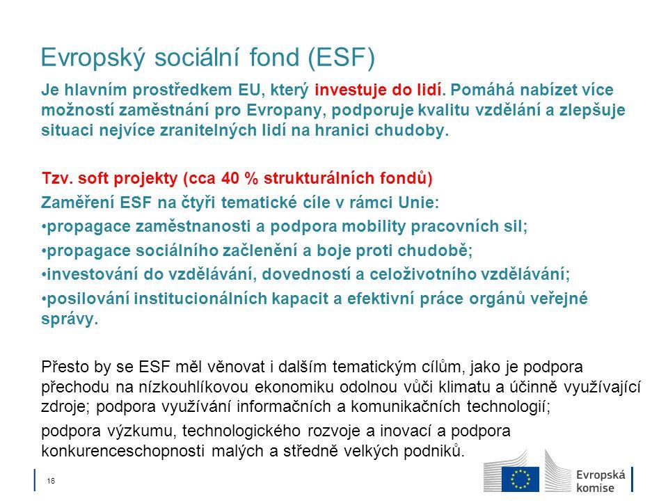 │ 16 Evropský sociální fond (ESF) Je hlavním prostředkem EU, který investuje do lidí. Pomáhá nabízet více možností zaměstnání pro Evropany, podporuje