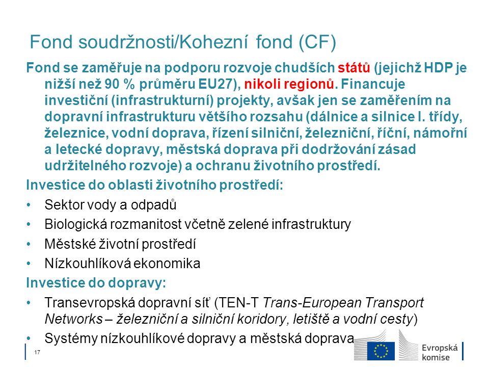 │ 17 Fond soudržnosti/Kohezní fond (CF) Fond se zaměřuje na podporu rozvoje chudších států (jejichž HDP je nižší než 90 % průměru EU27), nikoli region
