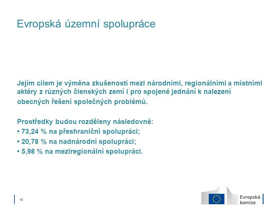│ 18 Evropská územní spolupráce Jejím cílem je výměna zkušeností mezi národními, regionálními a místními aktéry z různých členských zemí i pro spojené