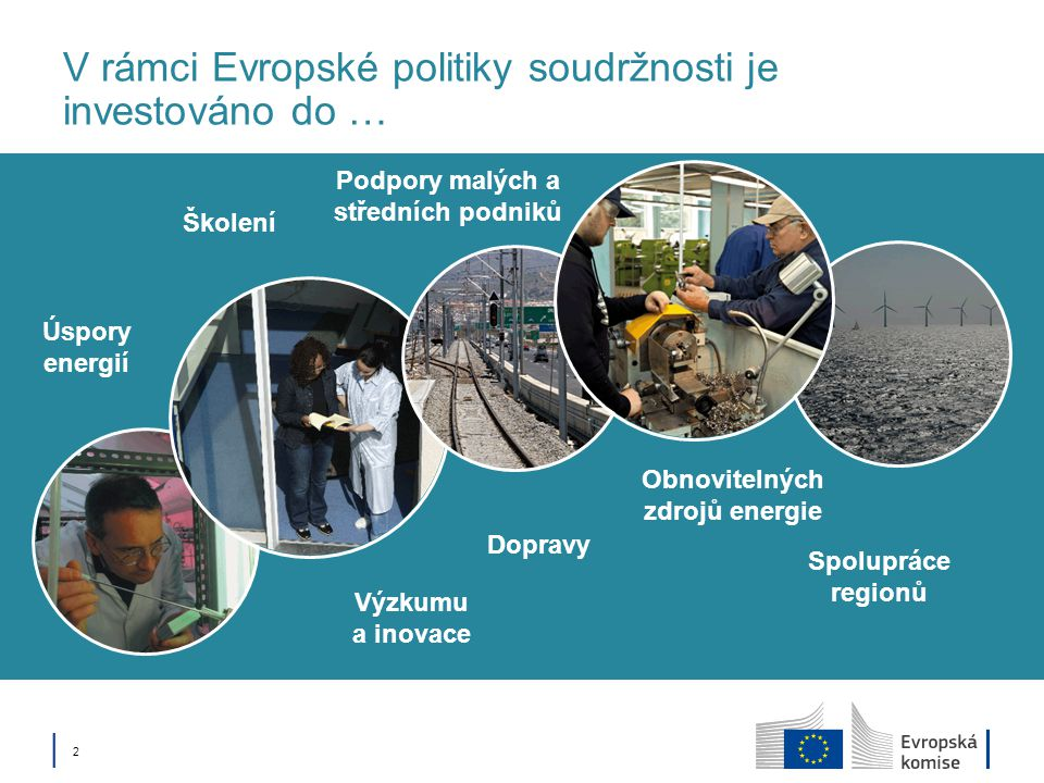│ 2│ 2 V rámci Evropské politiky soudržnosti je investováno do … Dopravy Obnovitelných zdrojů energie Výzkumu a inovace Školení Spolupráce regionů Úspory energií Podpory malých a středních podniků