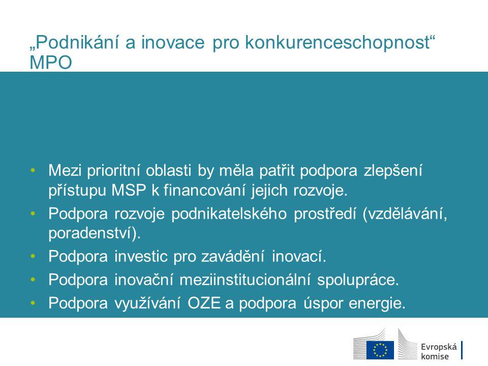 """""""Podnikání a inovace pro konkurenceschopnost"""" MPO Mezi prioritní oblasti by měla patřit podpora zlepšení přístupu MSP k financování jejich rozvoje. Po"""