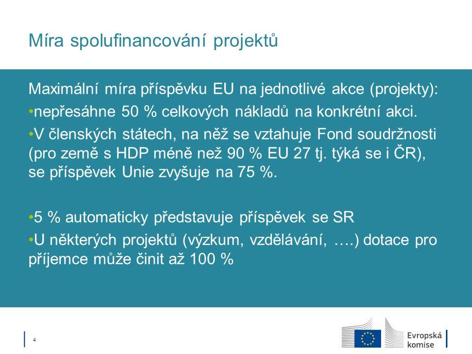 Míra spolufinancování projektů Maximální míra příspěvku EU na jednotlivé akce (projekty): nepřesáhne 50 % celkových nákladů na konkrétní akci. V člens