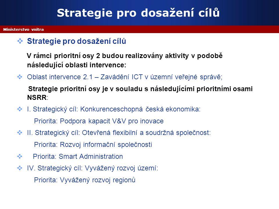 Ministerstvo vnitra Strategie pro dosažení cílů  Strategie pro dosažení cílů V rámci prioritní osy 2 budou realizovány aktivity v podobě následující oblasti intervence:  Oblast intervence 2.1 – Zavádění ICT v územní veřejné správě; Strategie prioritní osy je v souladu s následujícími prioritními osami NSRR:  I.