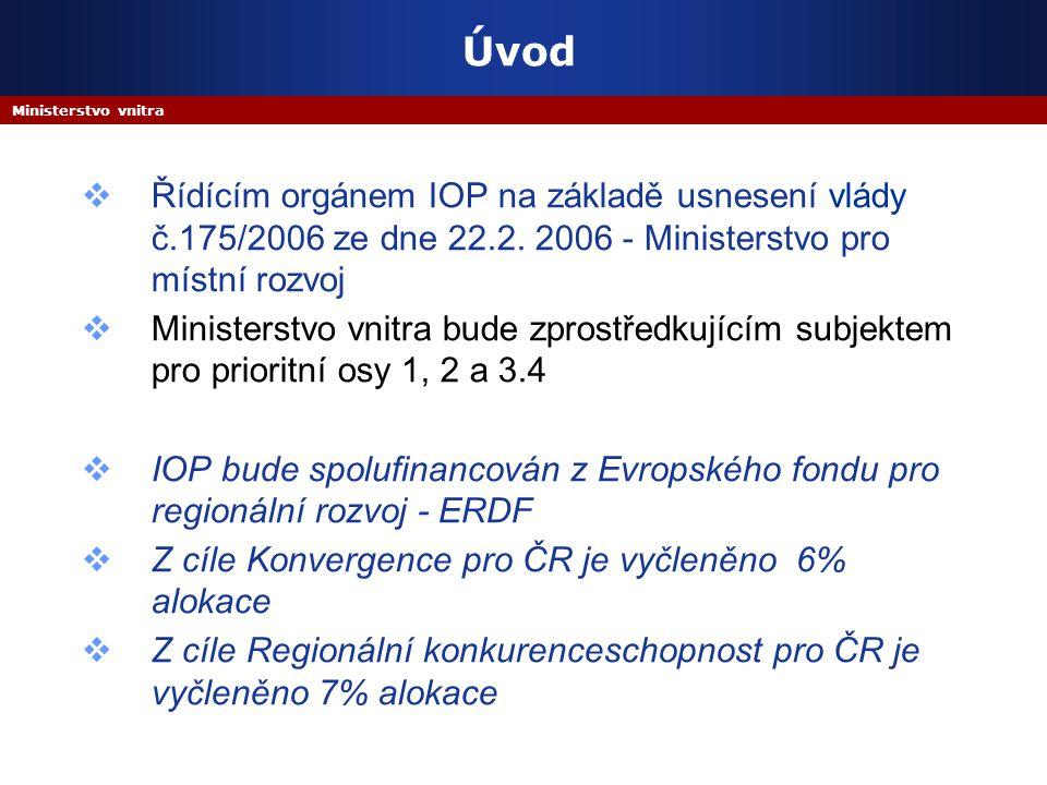 Ministerstvo vnitra Úvod  Řídícím orgánem IOP na základě usnesení vlády č.175/2006 ze dne 22.2. 2006 - Ministerstvo pro místní rozvoj  Ministerstvo