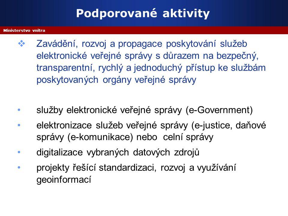 Ministerstvo vnitra Podporované aktivity  Zavádění, rozvoj a propagace poskytování služeb elektronické veřejné správy s důrazem na bezpečný, transpar