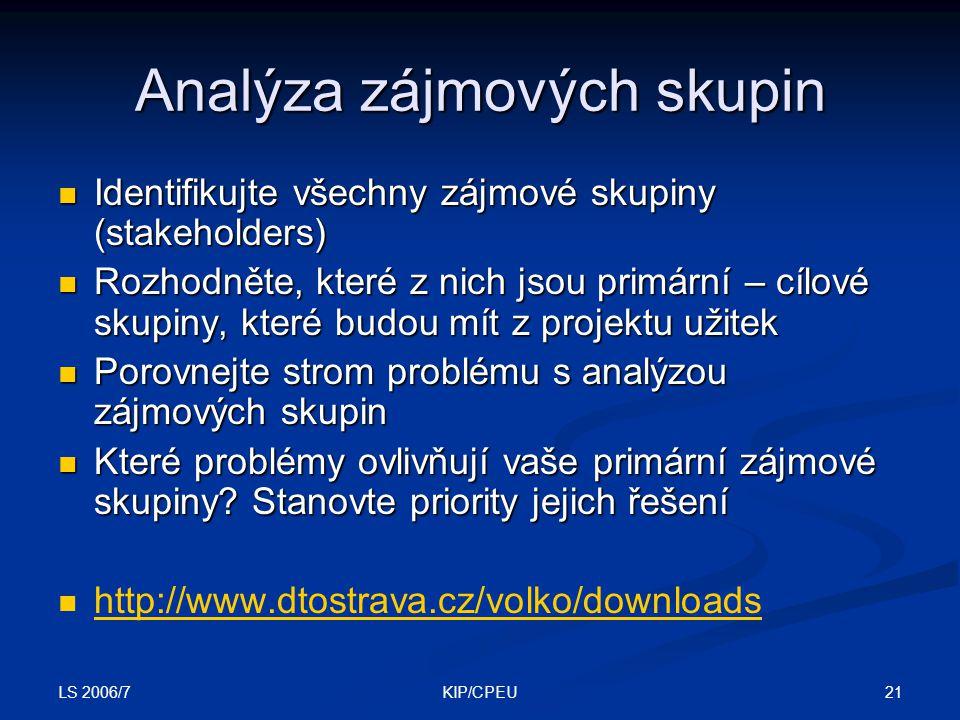 LS 2006/7 21KIP/CPEU Analýza zájmových skupin Identifikujte všechny zájmové skupiny (stakeholders) Identifikujte všechny zájmové skupiny (stakeholders