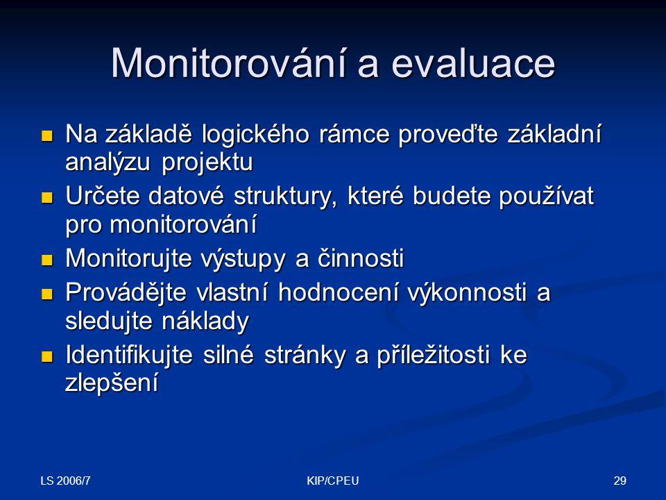 LS 2006/7 29KIP/CPEU Monitorování a evaluace Na základě logického rámce proveďte základní analýzu projektu Na základě logického rámce proveďte základn