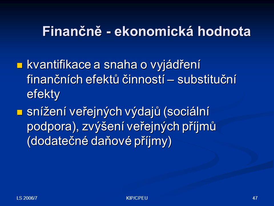 LS 2006/7 47KIP/CPEU Finančně - ekonomická hodnota kvantifikace a snaha o vyjádření finančních efektů činností – substituční efekty kvantifikace a sna
