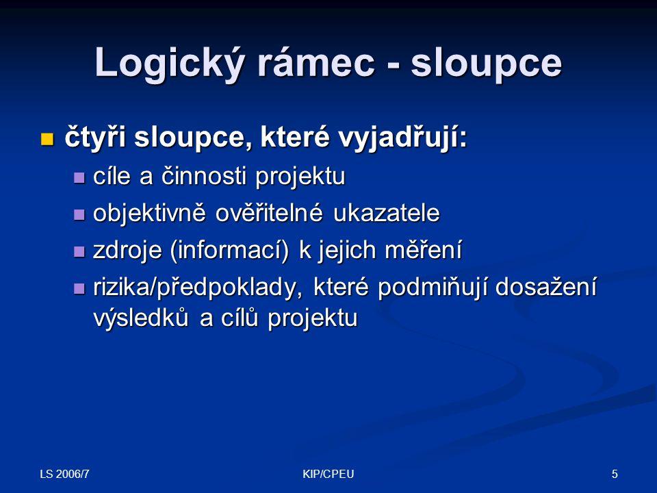 LS 2006/7 5KIP/CPEU Logický rámec - sloupce čtyři sloupce, které vyjadřují: čtyři sloupce, které vyjadřují: cíle a činnosti projektu cíle a činnosti p