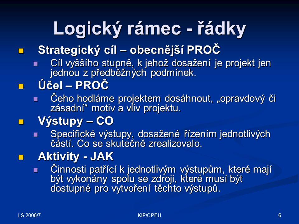 LS 2006/7 6KIP/CPEU Logický rámec - řádky Strategický cíl – obecnější PROČ Strategický cíl – obecnější PROČ Cíl vyššího stupně, k jehož dosažení je pr