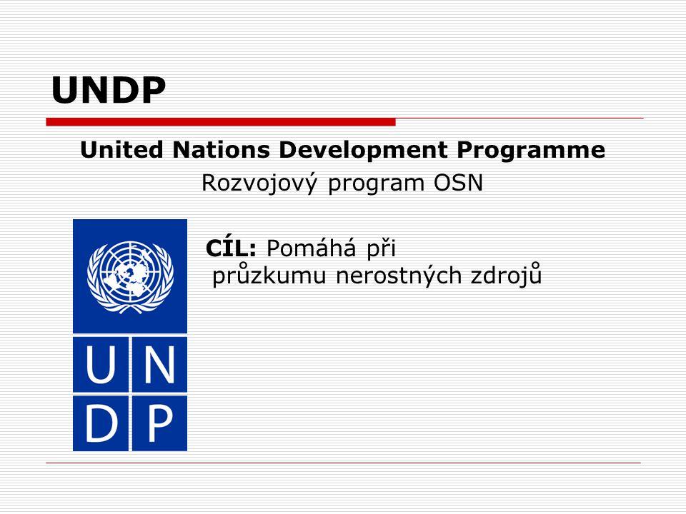 UNDP United Nations Development Programme Rozvojový program OSN CÍL: Pomáhá při průzkumu nerostných zdrojů