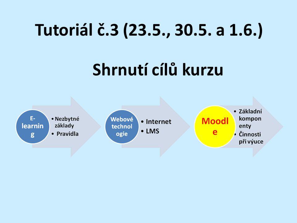 Tutoriál č.3 (23.5., 30.5. a 1.6.) Shrnutí cílů kurzu