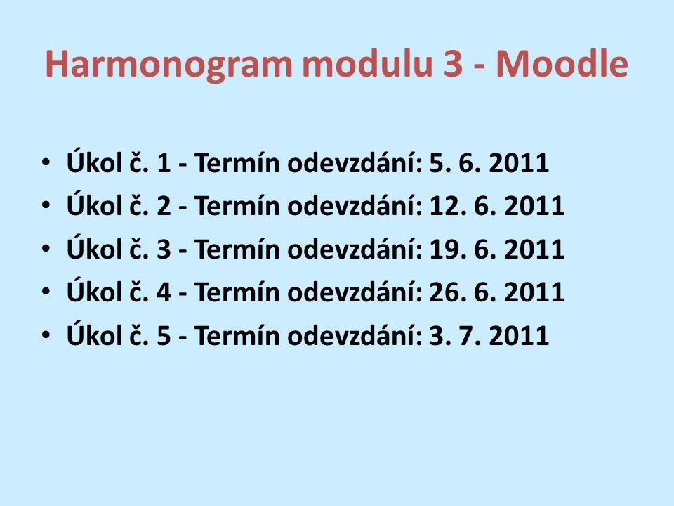 Harmonogram modulu 3 - Moodle Úkol č. 1 - Termín odevzdání: 5.
