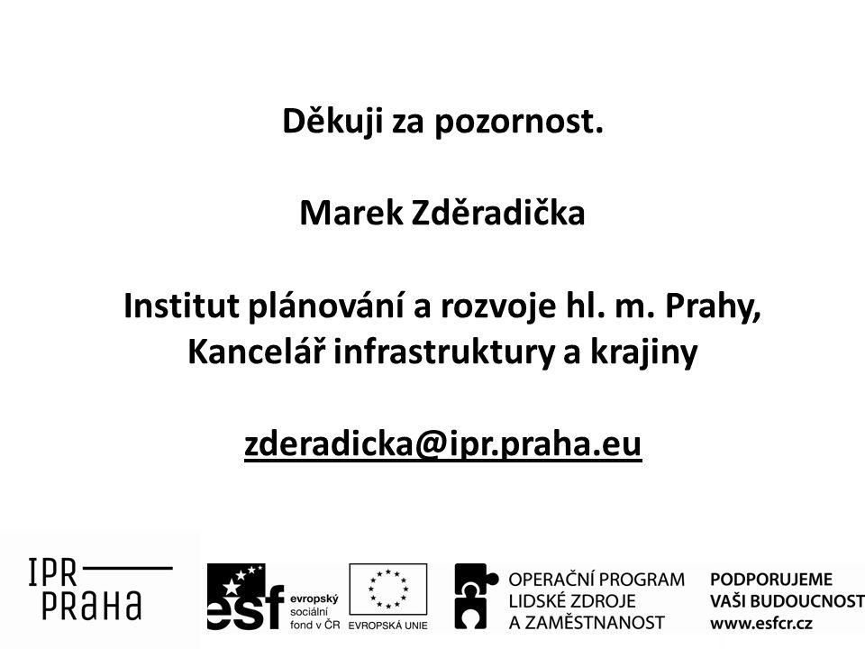 Děkuji za pozornost. Marek Zděradička Institut plánování a rozvoje hl. m. Prahy, Kancelář infrastruktury a krajiny zderadicka@ipr.praha.eu