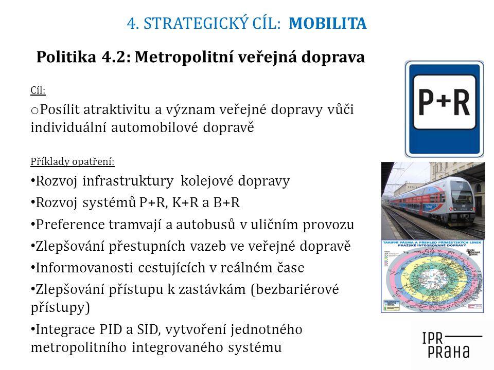 Cíl: o Posílit atraktivitu a význam veřejné dopravy vůči individuální automobilové dopravě Příklady opatření: Rozvoj infrastruktury kolejové dopravy R