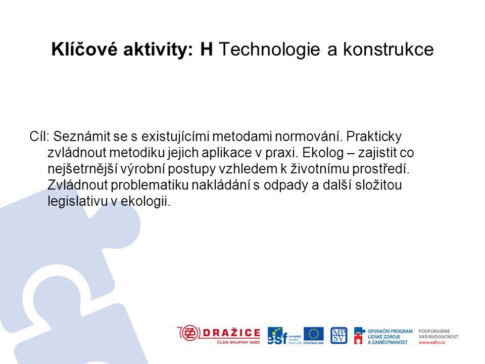 Klíčové aktivity: H Technologie a konstrukce Cíl: Seznámit se s existujícími metodami normování.