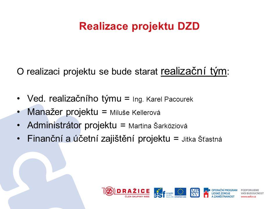 Realizace projektu DZD O realizaci projektu se bude starat realizační tým : Ved.