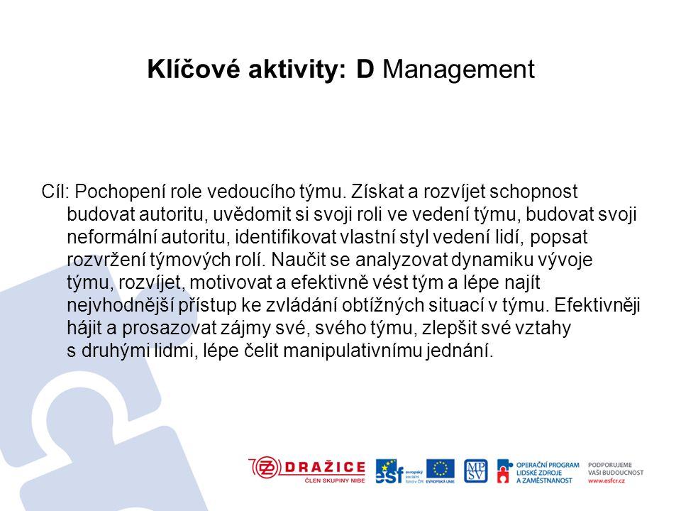 Klíčové aktivity: D Management Cíl: Pochopení role vedoucího týmu.
