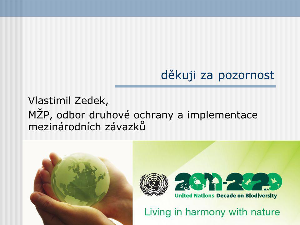 děkuji za pozornost Vlastimil Zedek, MŽP, odbor druhové ochrany a implementace mezinárodních závazků