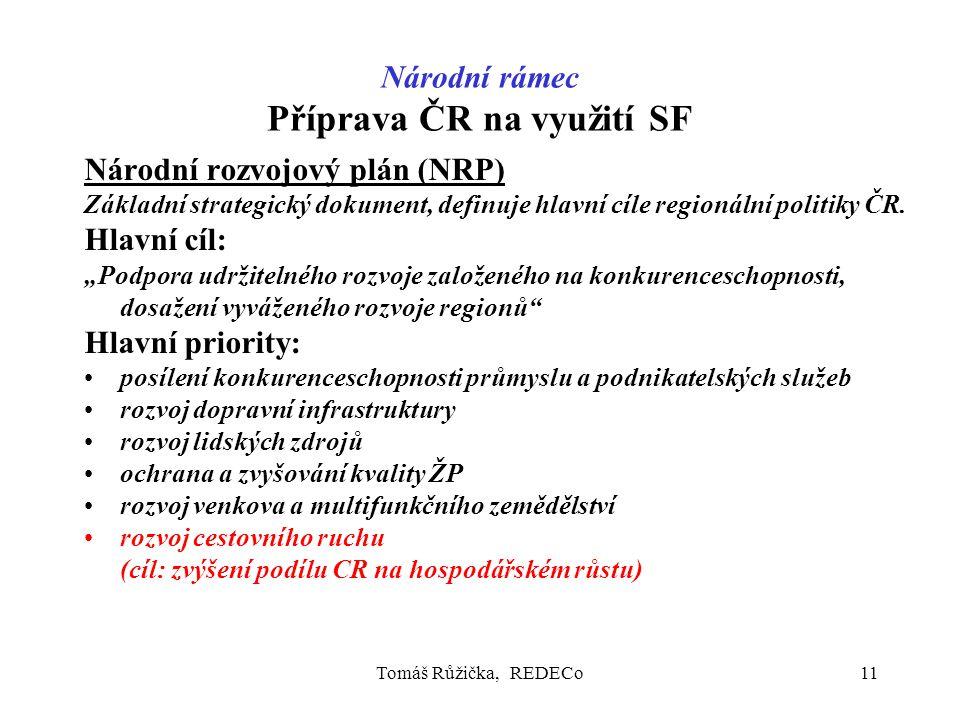 Tomáš Růžička, REDECo11 Národní rámec Příprava ČR na využití SF Národní rozvojový plán (NRP) Základní strategický dokument, definuje hlavní cíle regionální politiky ČR.