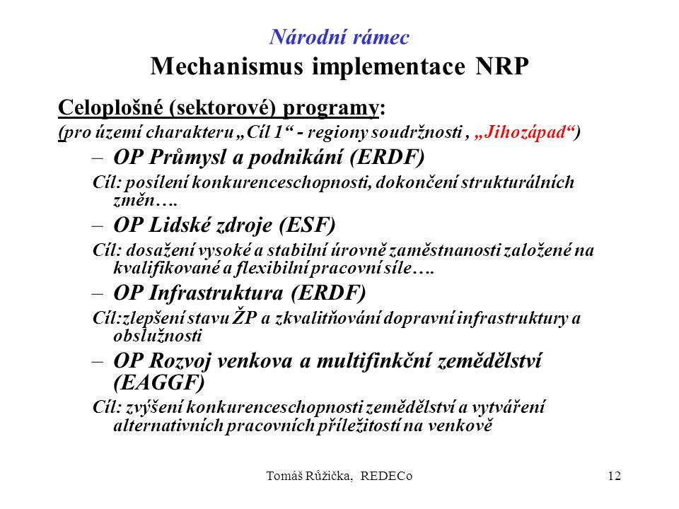 """Tomáš Růžička, REDECo12 Národní rámec Mechanismus implementace NRP Celoplošné (sektorové) programy: (pro území charakteru """"Cíl 1"""" - regiony soudržnost"""