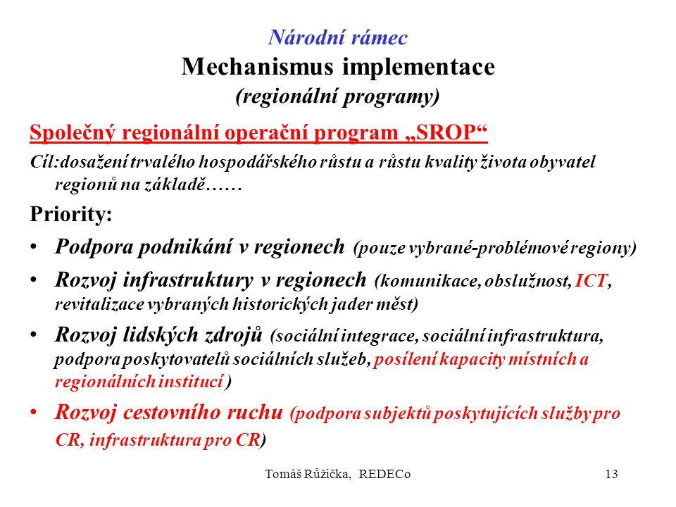 """Tomáš Růžička, REDECo13 Národní rámec Mechanismus implementace (regionální programy) Společný regionální operační program """"SROP Cíl:dosažení trvalého hospodářského růstu a růstu kvality života obyvatel regionů na základě…… Priority: Podpora podnikání v regionech (pouze vybrané-problémové regiony) Rozvoj infrastruktury v regionech (komunikace, obslužnost, ICT, revitalizace vybraných historických jader měst) Rozvoj lidských zdrojů (sociální integrace, sociální infrastruktura, podpora poskytovatelů sociálních služeb, posílení kapacity místních a regionálních institucí ) Rozvoj cestovního ruchu (podpora subjektů poskytujících služby pro CR, infrastruktura pro CR)"""