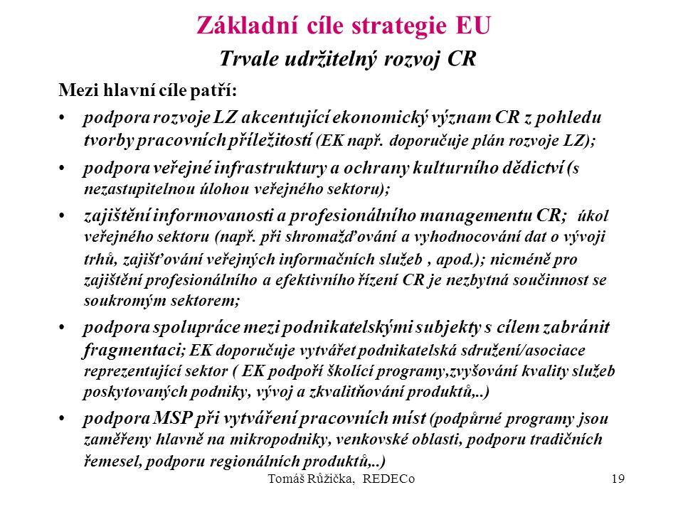Tomáš Růžička, REDECo19 Základní cíle strategie EU Trvale udržitelný rozvoj CR Mezi hlavní cíle patří: podpora rozvoje LZ akcentující ekonomický význam CR z pohledu tvorby pracovních příležitostí (EK např.