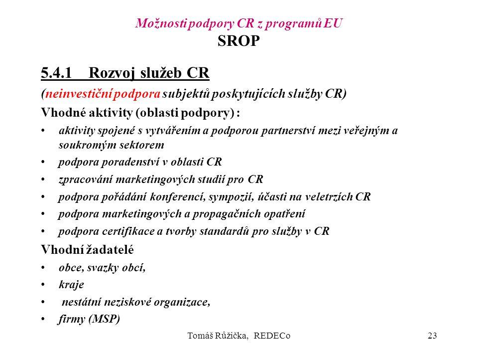 Tomáš Růžička, REDECo23 Možnosti podpory CR z programů EU SROP 5.4.1Rozvoj služeb CR (neinvestiční podpora subjektů poskytujících služby CR) Vhodné aktivity (oblasti podpory) : aktivity spojené s vytvářením a podporou partnerství mezi veřejným a soukromým sektorem podpora poradenství v oblasti CR zpracování marketingových studií pro CR podpora pořádání konferencí, sympozií, účasti na veletrzích CR podpora marketingových a propagačních opatření podpora certifikace a tvorby standardů pro služby v CR Vhodní žadatelé obce, svazky obcí, kraje nestátní neziskové organizace, firmy (MSP)