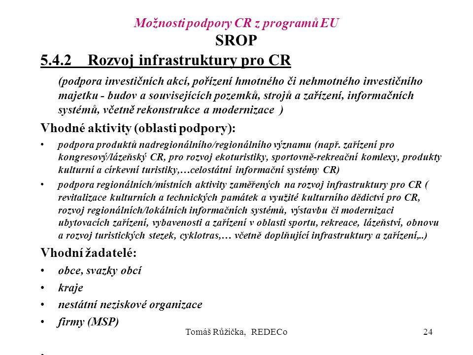 Tomáš Růžička, REDECo24 Možnosti podpory CR z programů EU SROP 5.4.2Rozvoj infrastruktury pro CR (podpora investičních akcí, pořízení hmotného či nehmotného investičního majetku - budov a souvisejících pozemků, strojů a zařízení, informačních systémů, včetně rekonstrukce a modernizace ) Vhodné aktivity (oblasti podpory): podpora produktů nadregionálního/regionálního významu (např.